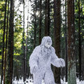 Yeti fairy tale character in winter forest. Outdoor fantasy photo.