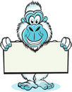 Yeti holding sign Royalty Free Stock Image