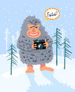 Yeti photographer winter card with Royalty Free Stock Photo