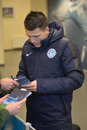 Yevgen konoplyanka dispense autographs photo was taken during the match between fc dnipro dnipropetrovsk city and fc metalurg d Stock Image