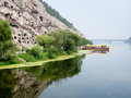 Yi River and Longmen Grottoes Royalty Free Stock Photo