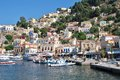 Yialos harbour symi island boats moored in on the greek of on june Stock Image