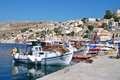 Yialos harbour symi island fishing boats moored in on the greek of on june Royalty Free Stock Photography
