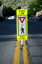 Yield in Cross Walk Sign Royalty Free Stock Photo