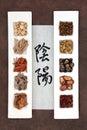 Yin y yang herbal medicine Imagen de archivo libre de regalías