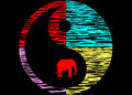 Yin yang abstract symbol of colourful animal prints with an african elephant within the circle Stock Photos