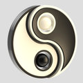 Yin-Yang balance black and white emblem isolated Royalty Free Stock Photos