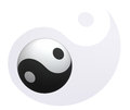 Yin-Yang ball at Yin-Yang background Royalty Free Stock Images