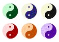Yin yang cdr format set of signs made from stained glass Stock Image