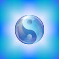 Yin yang design created water bubble shades blue Stock Images