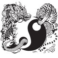 Yin yang with dragon and tiger Royalty Free Stock Photo
