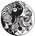 Yin yang dragon and tiger