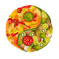 Yin-yang of fruits and vegetables Royalty Free Stock Photography