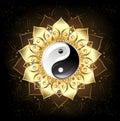 Yin yang golden lotus