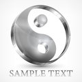 Yin yang grey symbol on white vector illustration Stock Photos
