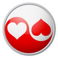 Yin yang heart symbol red and white Royalty Free Stock Photos