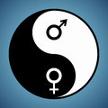 Yin yang man and woman modified symbol with male female signs Stock Photo