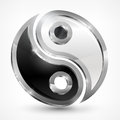 Yin yang metallic symbol on white vector illustration Royalty Free Stock Photos