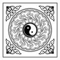 Yin yang pattern a the often appear on the ceiling of the chinese traditional architecture especially the taoist Stock Photography