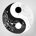Yin yang pattern symbol on grey background vector illustration Stock Photo