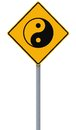 Yin yang road sign conceptual with the symbol Royalty Free Stock Photography