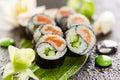 Yin yang roll maki sushi made of fresh salmon and cucumber inside nori outside Royalty Free Stock Image