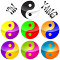 Yin yang seven colorful chines logo or illustration on the white background Stock Images