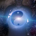 Yin yang star man holding with stars Stock Image