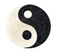 Yin yang stone decorative on the floor with clipping path Stock Images