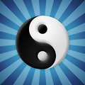 Yin yang symbol on blue rays background beveled Royalty Free Stock Photo