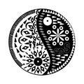 Yin Yang symbol Floral  symbol Royalty Free Stock Photo