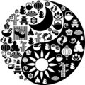 Yin Yang symbol made from Zen icons Royalty Free Stock Images