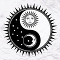 Yin yang symbol with moon and sun vector faces stars abstract occult mystic sign black white spiritual design concept of feng Royalty Free Stock Photos