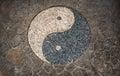 Yin Yang Symbol in mosaic floor Royalty Free Stock Photo