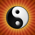 Yin yang symbol on red rays background Royalty Free Stock Photo