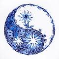 Yin yang symbol watercolor painting minimal design hand drawn pattern
