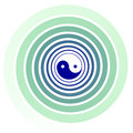 Yin yang tai chi swirl symbol with positive and negative energy twisting together opposite forces repel against but at the same Royalty Free Stock Photography