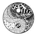 Yin and Yang. Zentangle.