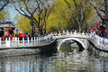 Yinding bridge beijing in eraly spring silver ingot a landmark s tourist destination houhai lake first built ming dynasty the Royalty Free Stock Photo