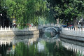 Yinding bridge houhai beijing silver ingot a landmark in s tourist destination lake first built in ming dynasty the Stock Images