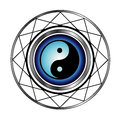 Ying yang symbol with blue glow taoism daoism religion Stock Photography