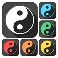 Ying yang symbol of harmony and balance icons set with long shadow