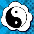 Ying yang symbol of harmony and balance. Vector. Black icon in b