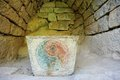 Ying yang symbol stone carved at mountain hua Royalty Free Stock Photography