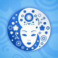 Ying yang symbol with woman face vector illustration Royalty Free Stock Photography