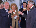 Yitzhak rabin shulamit aloni haim ramon moshe shahal chaim herzog newly installed prime minister toasts president at beit hanassi Royalty Free Stock Images