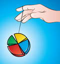 Yo yo vector illustration of a hand playing with pie chart Royalty Free Stock Photo