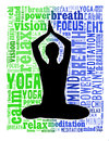 Yoga actions in word cloud of silhouette women doing Royalty Free Stock Images