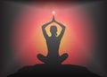 Yoga Arms Overhead Lotus Pose Glare Background Royalty Free Stock Photo