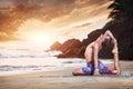 Yoga on beach Royalty Free Stock Photo